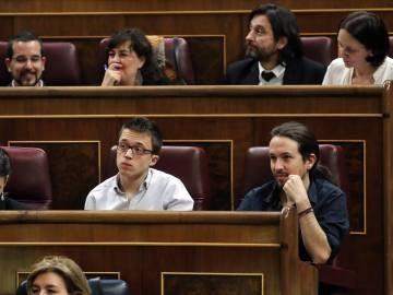 Los diputados de Unidos Podemos en el Congreso