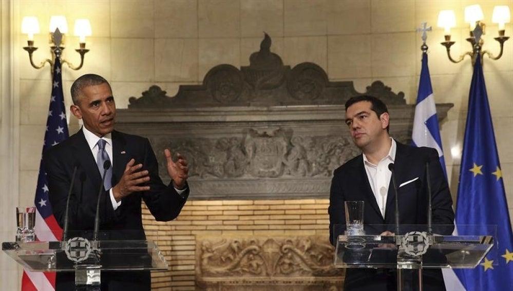 Barack Obama y Alexis Tsipras