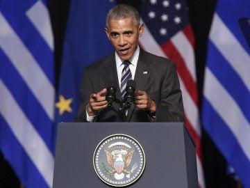El presidente de los Estados Unidos, Barack Obama, ofrece un discurso en el Centro Cultural de la Fundación Stavros Niarchos en Atenas