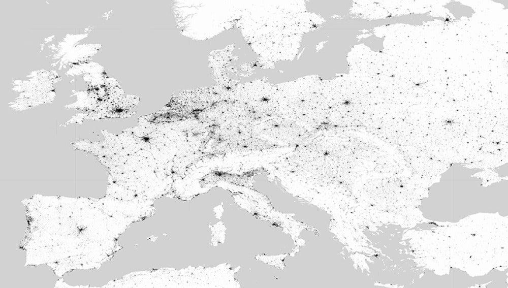 El mapa permite incluso ver los núcleos rurales
