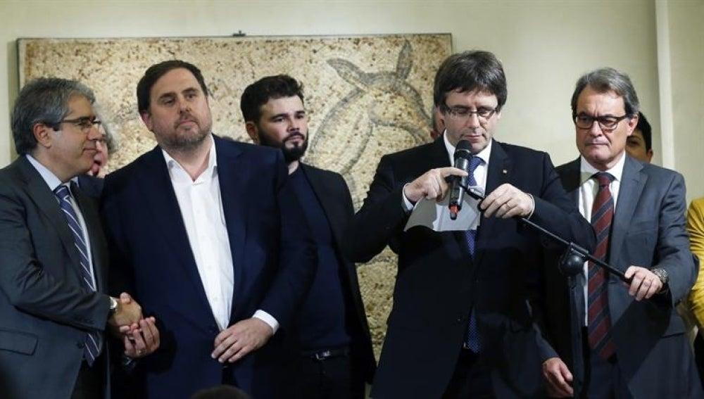 Carles Puigdemont, Oriol Junqueras, Artur Mas y Gabriel Rufián