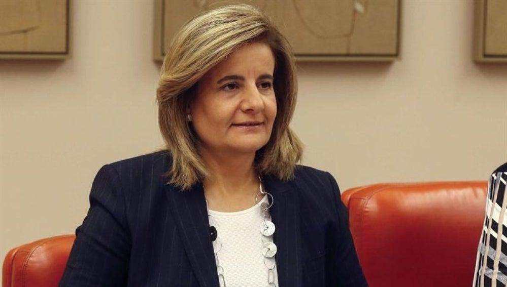 Fátima Báñez durante su comparecencia en la Comisión del Pacto de Toledo para informar sobre la situación del sistema de pensiones