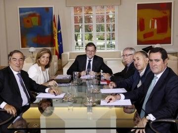 Reunión de Mariano Rajoy con los representantes de los agentes sociales