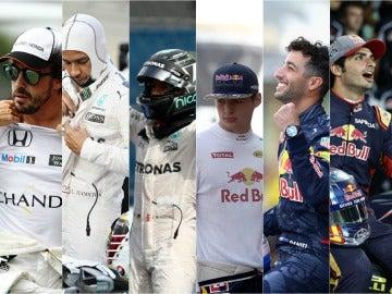 Alonso, Hamilton, Rosberg, Verstappen, Ricciardo y Sainz