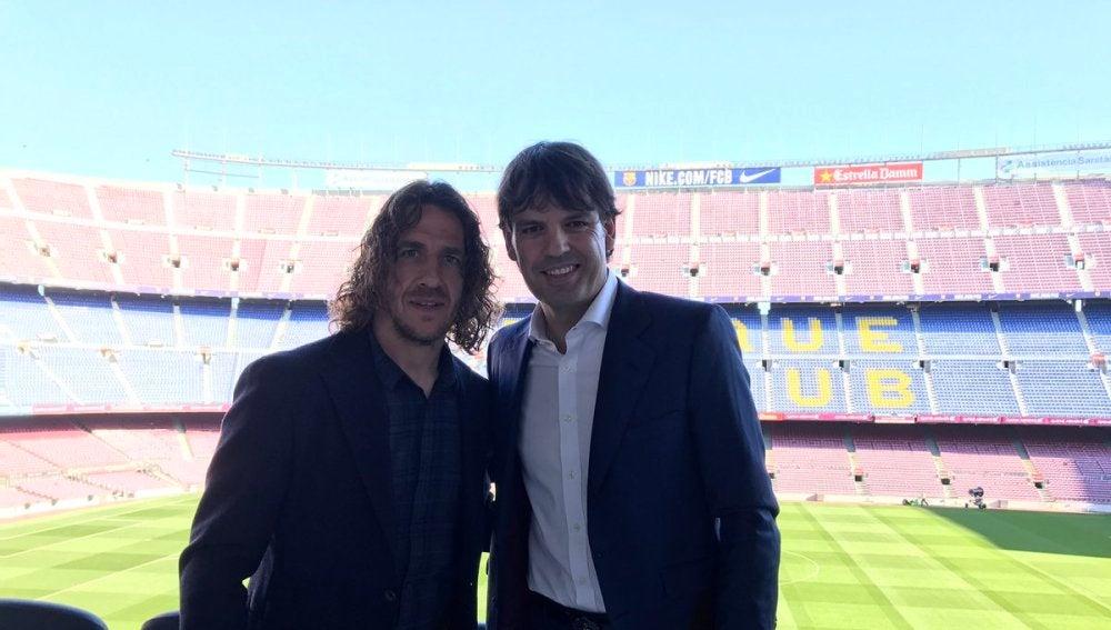 Carles Puyol y Fernando Morientes