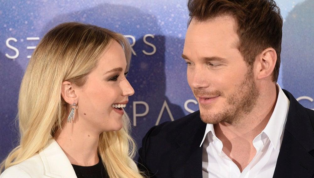 Chris Pratt junto a Jennifer Lawrence en Madrid