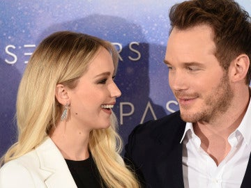 Chris Pratt junto a Jennifer Lawrence en Madrid