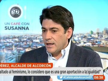 David Pérez, alcalde de Alcorcón, en una entrevista en Espejo Público