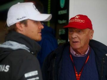 Niki Lauda y Nico Rosberg, en Austin