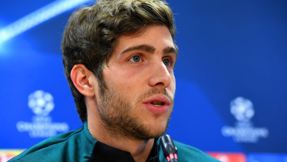 Sergi Roberto, durante la rueda de prensa