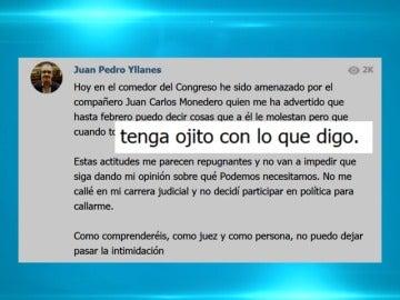 Frame 11.274244 de: El juez Juan Pedro Yllanes de Podemos denuncia amenazas de Juan Carlos Monedero