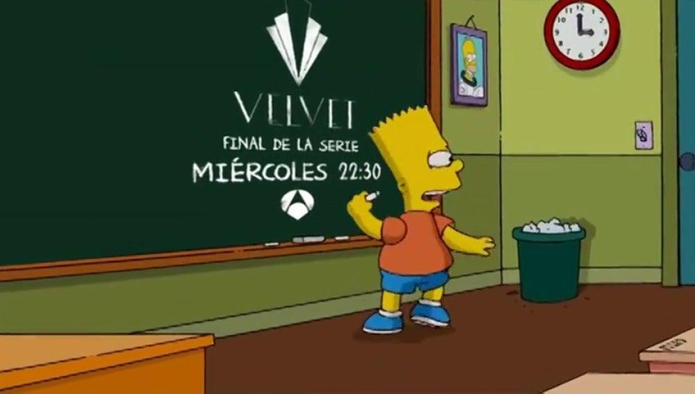 Frame 7.458404 de: Bart Simpson te recuerda que el próximo miércoles, Antena 3 emite el capítulo final de 'Velvet' (a las 22:30h)