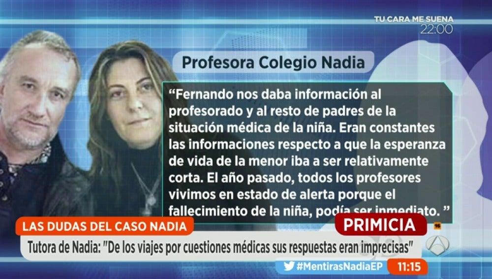 """Frame 288.764444 de: Los profesores de Nadia: """"Vivíamos en estado de alerta porque nos decían que el fallecimiento de la niña podía ser inminente"""""""