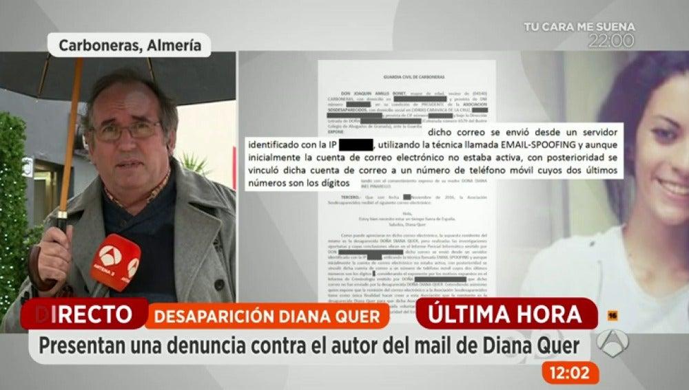 Frame 253.750153 de: Espejo Público accede a la denuncia de SOS Desaparecidos a Google para facilite la identidad del autor del correo firmado por Diana Quer