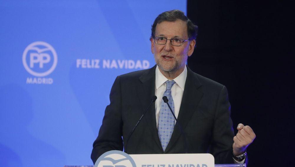 El presidente del Gobierno, Mariano Rajoy, el pasado miércoles durante su intervención en la cena de Navidad del PP de Madrid