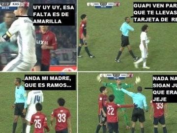 Meme sobre la 'segunda amarilla' a Sergio Ramos