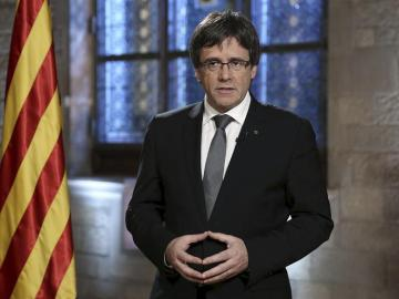 Carles Puigdemont, durante el discurso