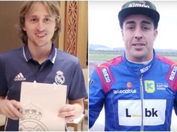 Luka Modric y Fernando Alonso intercambian regalos