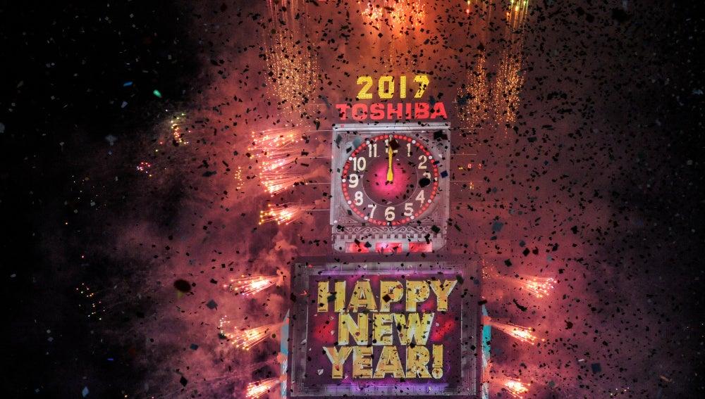 Celebración de Año Nuevo en Times Square, en Nueva York