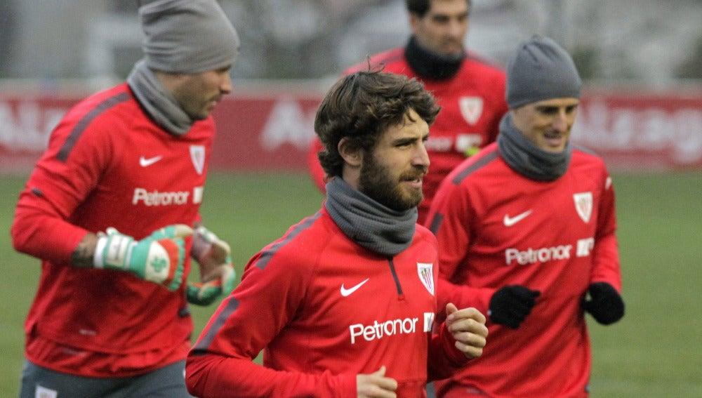Yeray, durante un entrenamiento con el Athletic