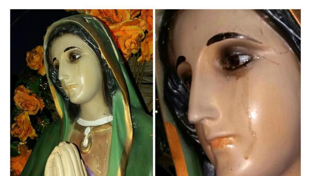 La figura de la Virgen que supuestamente ha llorado