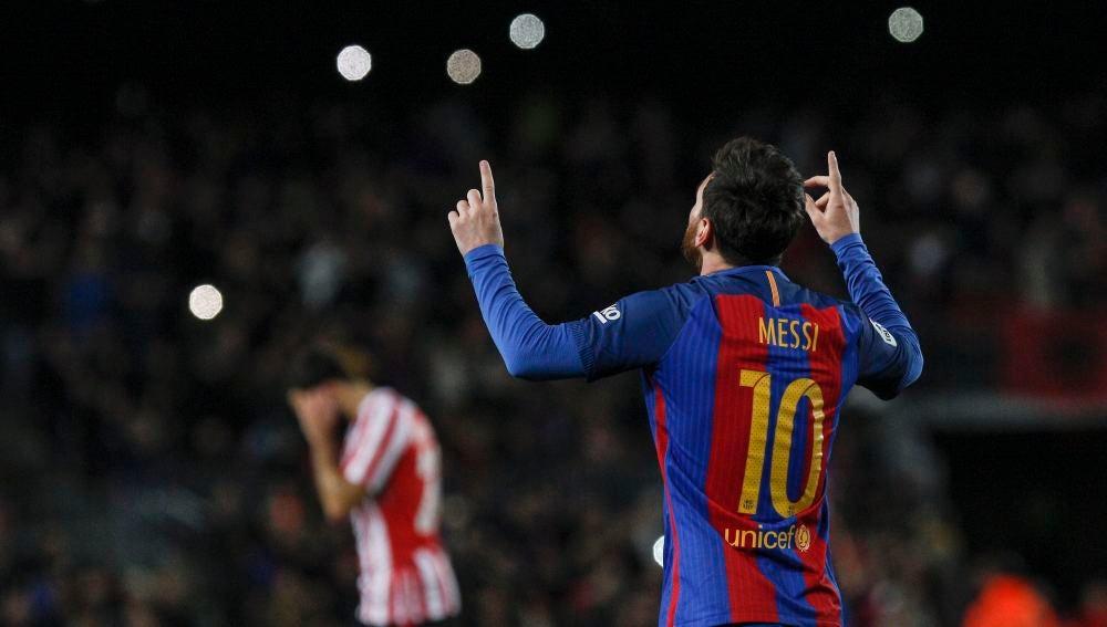Leo Messi celebra su decisivo gol ante el Athletic