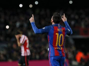 Leo Messi celebra su decisivo gol ante el Athletic