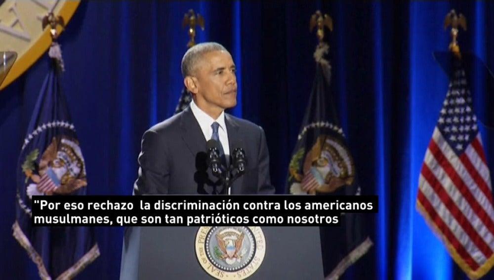 """Frame 12.752705 de: Obama: """"Rechazo la discriminación a los musulmanes"""""""