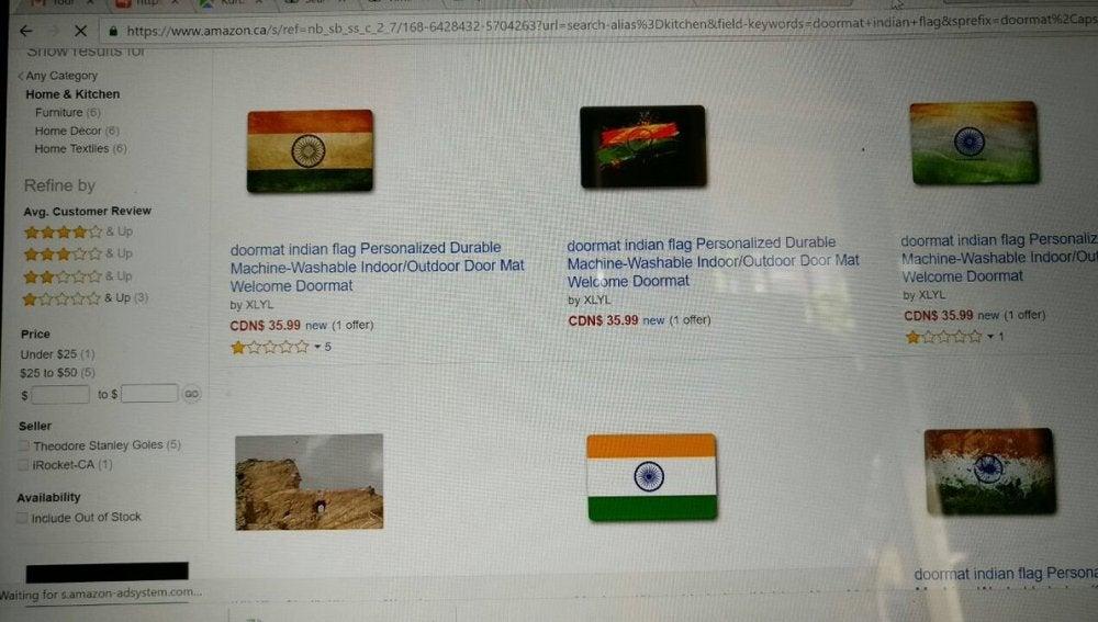 Venta de un felpudo con la bandera de la India