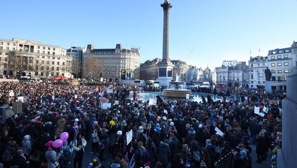 Trafalgar Square, durante la marcha contra Trump