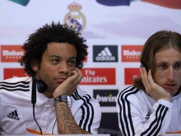 Marcelo y Modric, durante una rueda de prensa