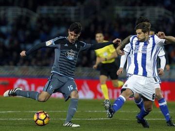 Momento del partido entre Real Sociedad y Celta