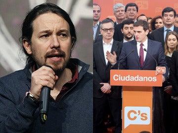 Pablo Iglesias y Albert Rivera con su equipo