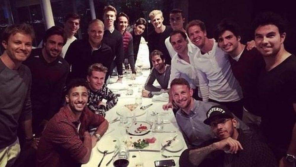 Los pilotos de F1, de cena