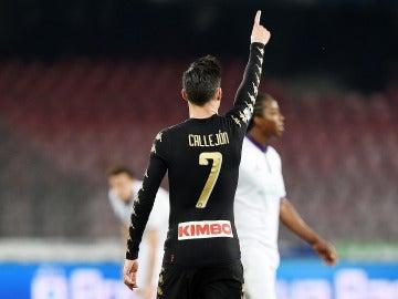 José Callejón celebra su gol en la Copa Italia