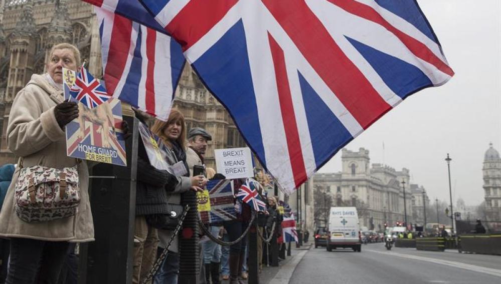 Varias personas participan en la manifestación a favor del Brexit