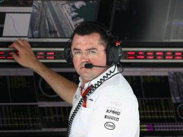 Erci Boullier, en una carrera de Fórmula 1