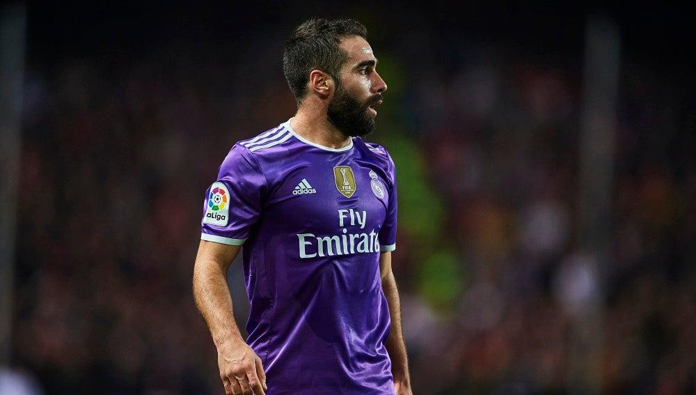 Carvajal en un partido con el Real Madrid