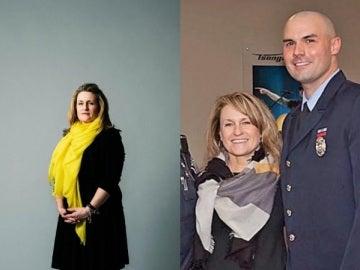 Roseann Sdoia, víctima del atentado de Boston, y el bombero Mike Materia, el bombero que la rescató