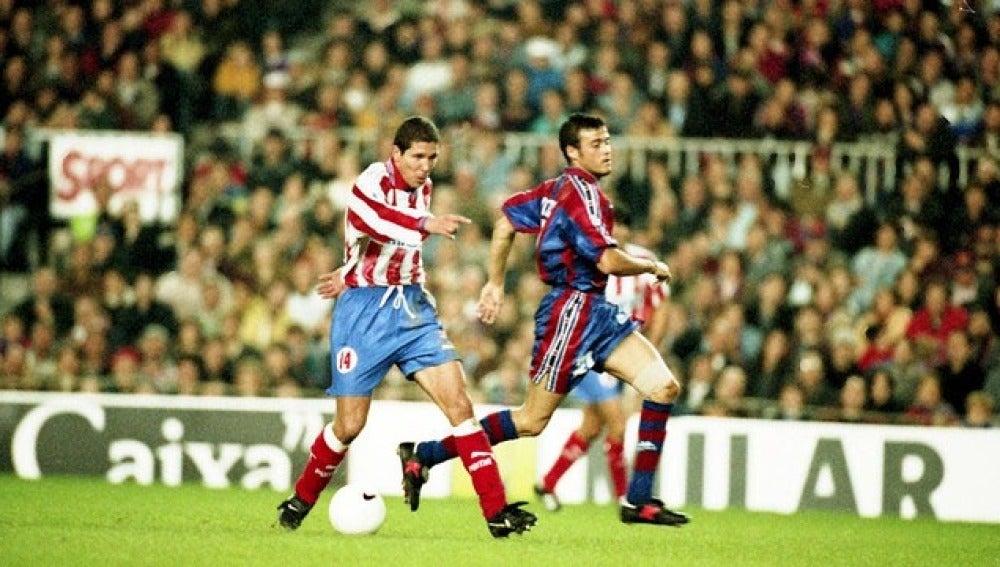 Luis Enrique y Simeone en su época de jugadores