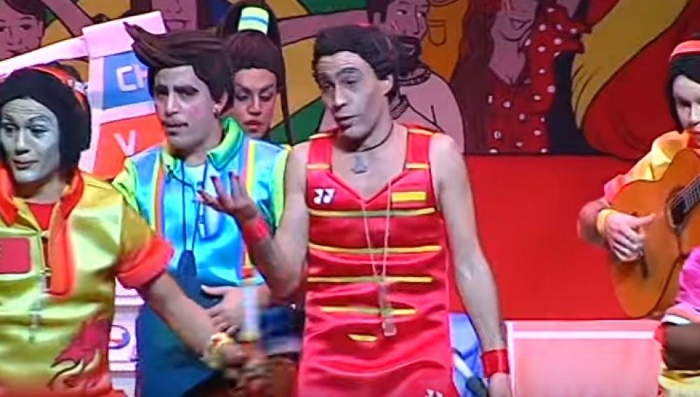 La doble de Carolina Marín, durante la murga en el Carnaval Colombino