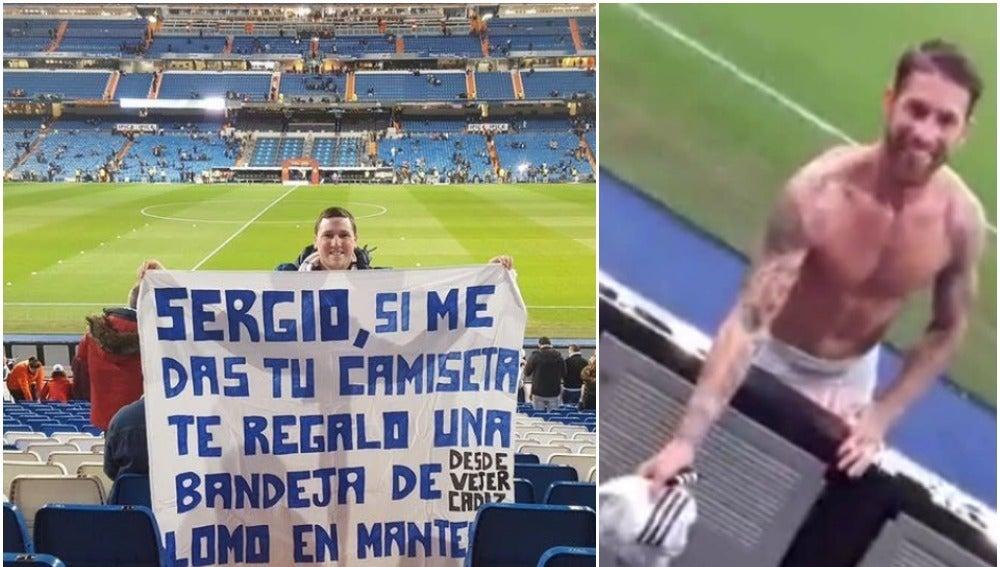 Sergio Ramos reclama a la grada su bandeja de lomo en manteca