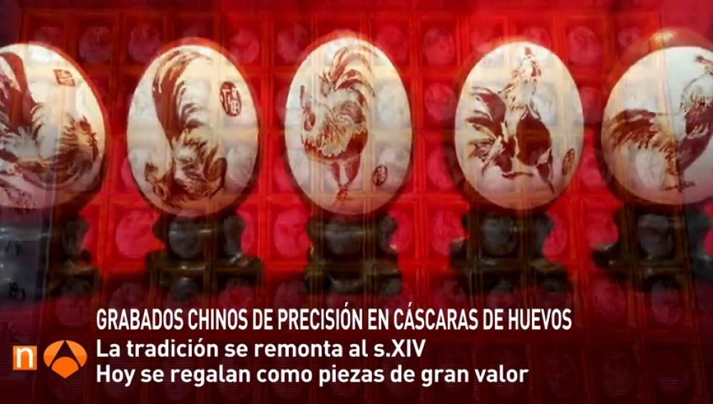 Frame 15.049455 de: Preciadas obras de arte talladas sobre la cáscara de huevos cocidos en China