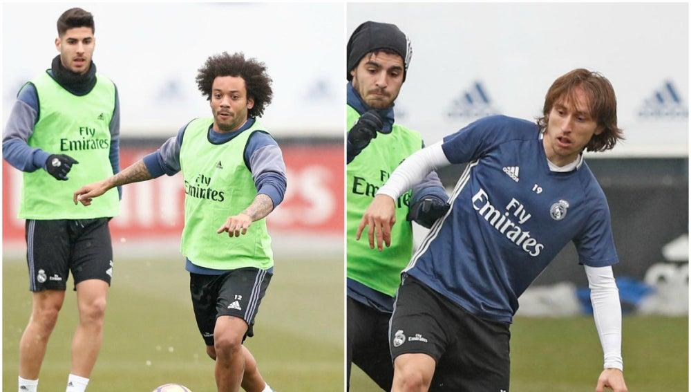 Marcelo y Modric, entrenando con el resto de sus compañeros