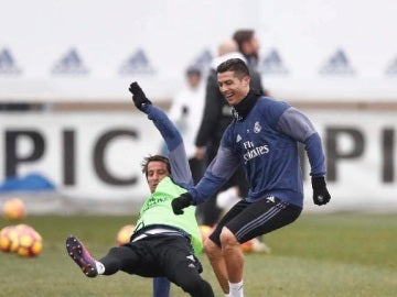 Cristiano Ronaldo y Coentrao, en Valdebebas
