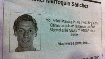 esquela Mikel Marroquín