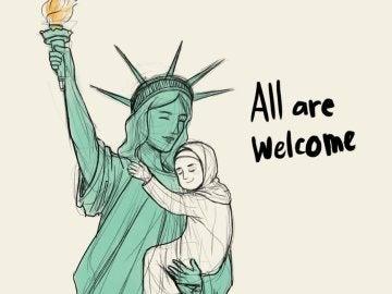 Uno de los dibujos en apoyo a los inmigrantes