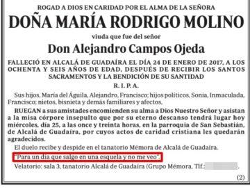 Esquela de María Rodrigo Molino