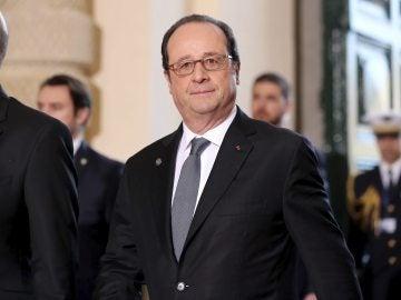 El presidente galo, François Hollande, a su llegada a la cumbre informal de líderes de la UE en La Valeta (Malta)