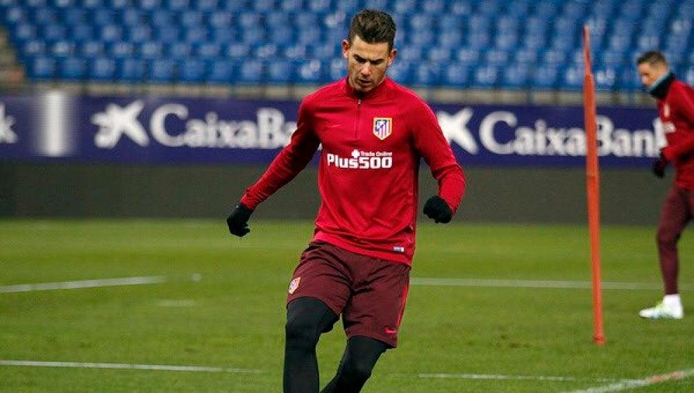Lucas Hernández durante un entrenamiento con el Atlético de Madrid